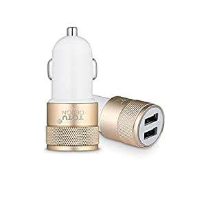 Dual USB Smart Car Charger 2.4A - Gold/White