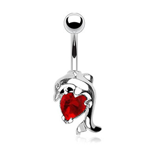 Dolphin w/Heart CZ WildKlass Navel Ring (Sold by - Dolphin Jewelry Navel Dangle