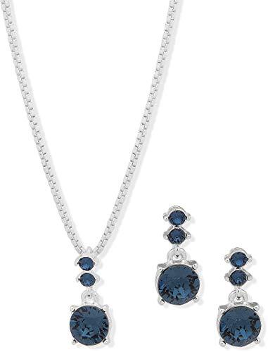 Nine West Montana Blue Crystal Necklace Set Montana Blue