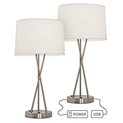 Paradis Lamp with Outlet and USB Port. 24 Inches tall, Modern Design, Brushed Nickel with Fabric Shade. Great as a Table Lamp or Nightstand Lamp - Charges Electronics (Set of 2)