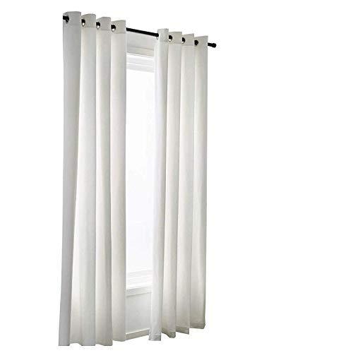 ARLinen Cotton Curtain Panel Set of (2) Solid Ivory/Cream 24