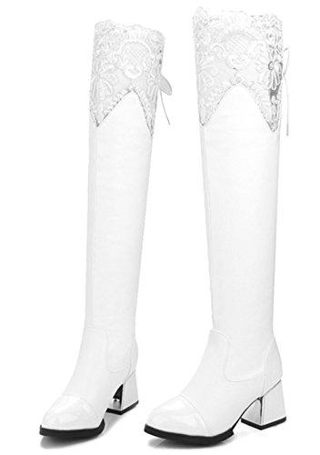 47118dc3b3aa ... YE Damen Spitze Overknee Langschaft Stiefel High Heels mit Schnürung  Hinten Blockabsatz Kniehoch 6cm Absatz Boots