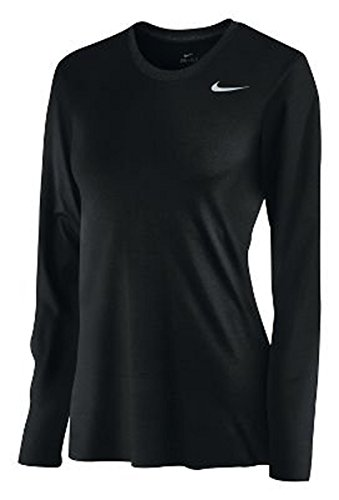 Nike Women's Long Sleeve Legend Shirt, Black, Medium (School Rugby Shirt)