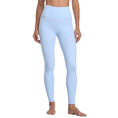 (HEJANG Women's Yoga Sports High Waist Workout Athletic Leggings Exercise Running Nude Hidden Pocket Pants 2019 (XS, Blue))