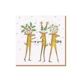 Caspari Reindeer Cheers Triple-Ply Boxed Paper Cocktail Napkins Set of 40