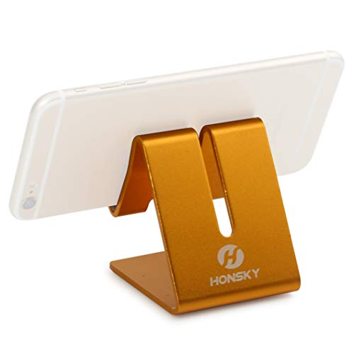 Honsky Solid Portable Universal Aluminum Desktop Desk Charging Stand Hands Free Mobile Smart Cell Phone Holder Tablet Display Stands for iPhone 7 6 Plus 5 Ipad 2 3 4 Ipad Mini iPod touch Samsung,Gold from Honsky
