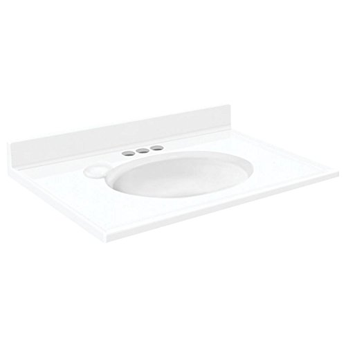 Transolid 1409-7320 37-in x 19-in Cultured Marble Bathroom Vanity Top in White free shipping