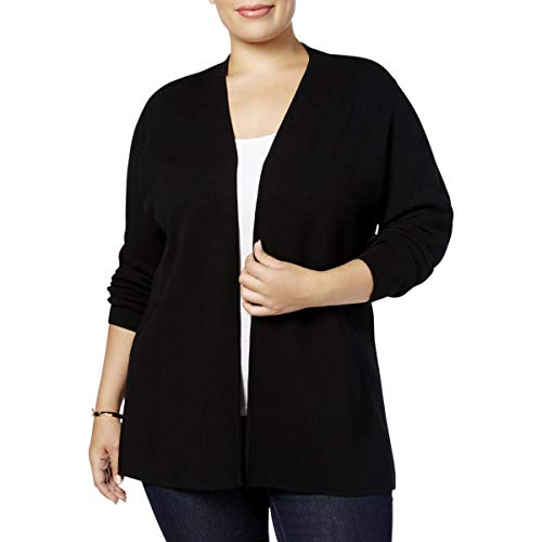 Charter Club Womens Plus Open Front Knit Cardigan Sweater Black ()