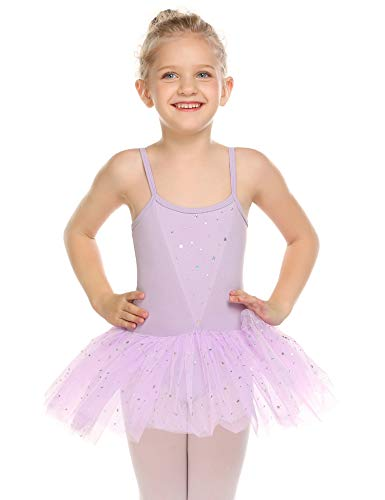 Zaclotre Girls' Camisole Tutu Leotard Dress Ballet Dance Gymnastics Glitter Skirted Dancewear Purple 3-4 Years
