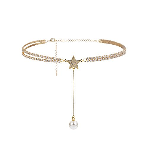 al Chain Choker Exquisite Star Charm Long Chain Pearl Pendant Necklace Gold (Row Chain)