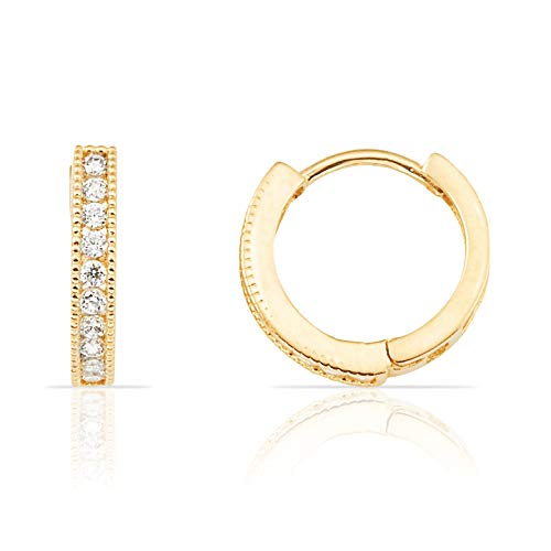 Beautiful 14K Yellow Gold and CZ Half Eternity Hoop Huggie Earrings for Small Girls
