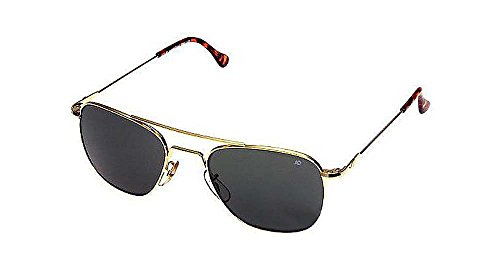 AO Original Pilot Sunglasses, Wire Spatula, Gold Frame, CC Gray Poly Lens, - 55mm Sunglasses Ao