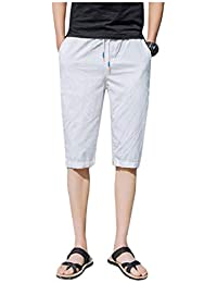 f3ca44c35e9 Men s Elastic Waist Outdoor Cotton Summer Linen Harem Short