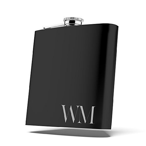 Personalized Flask Set, Groomsmen Gift, Customized Groomsman Flask Comes with Stainless Steel Funnel, Matte Black | Design -