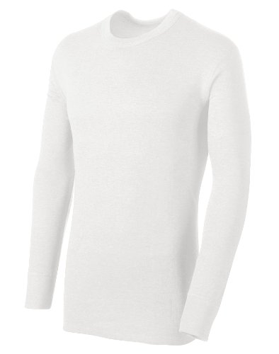 Shirt Only Thermal Mens (Duofold Men's Midweight L/S Crew With Moisture Wicking,Winter White,Large)