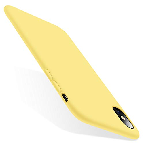 TORRAS Love Series iPhone Xs Case/iPhone X Case, Liquid Silicone Gel Rubber Shockproof Case Soft Microfiber Cloth Lining Cushion Compatible with iPhone X/XS 5.8 inch (2018), Yellow