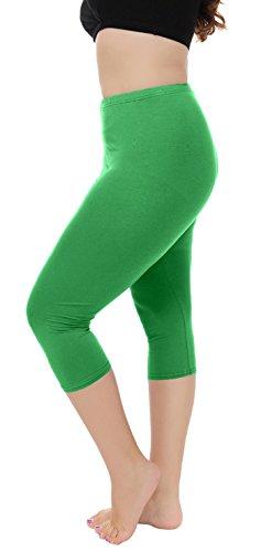 A-Wintage Women's Plus Size Capri Leggings 3/4 Length Leggings Modal Comfortable Leggings,Green,2X ()