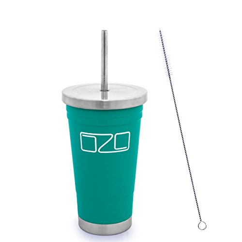 The Tumbler by OZO – Premium Stainless Steel Vacuum Insulated Travel Mug, Hot or Cold Drinks with Straw and Brush, 16oz capacity, in Matte Teal Green