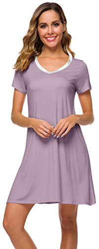 WiWi Women's V Neck Bamboo Nightgown Soft Short Sleeve, Violet, Small