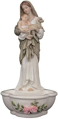 Veronese Collection Le Innocence Blessed Virgin Mother Mary 7.5 Inch Standing Hanging Holy Water Font Fountain