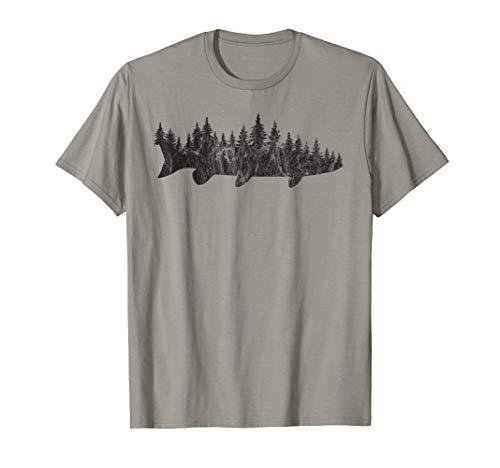 (Musky Pine Forest Treeline - Outdoor Fishing Angler T-Shirt)