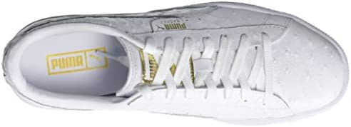 online retailer aeb7c 80144 PUMA Women's Basket Ostrich Sneaker, White-Metallic Gold, 9 ...