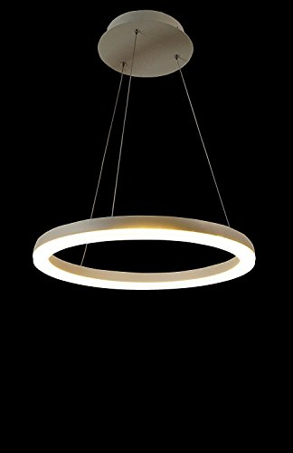 Upgrade LED Lighting White 18-Inch Round Circle Dazzling Crystal Scrub Glass Ceiling Light Pendant Fixture Linear Suspension Chandelier (18 inch) by Modin Home Inc