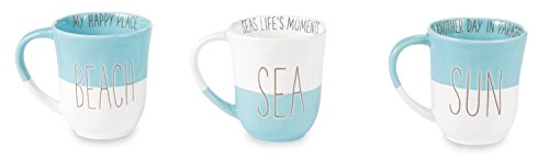 Beach Happy Place Seas Lifes Moments Sun Another Day Blue White Mugs Set of 3