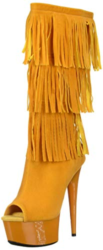 The Highest Heels (The Highest Heel Women's Amber 302 Western Style Open Toe Microsuede Fringe Boot Mid Calf, Yellow, 8 M)