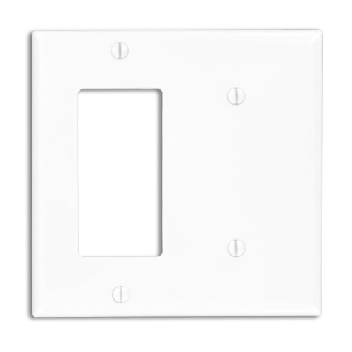 Leviton 80708-W 2-Gang 1-Blank 1-Decora/GFCI Device Combination Wallplate, Standard Size, White
