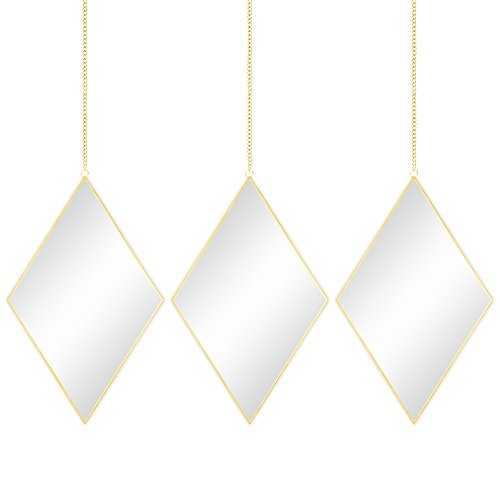 - Best Choice Products Set of 3 Decorative Diamond DIY Hanging Wall Mirrors for Living Room, Bedroom w/Chains - Copper