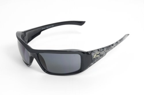 Edge Eyewear TXB216-S Brazeau Safety Glasses, Black Skull Series with Polarized Smoke - Logo Polarized