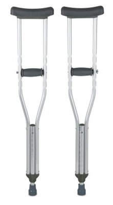 Underarm Youth Crutch, Youth Crutches, 350 lb. Capacity, Adjustable User Height 4'6'' to 5'2'', Aluminum