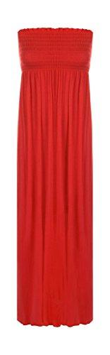 New Ladies Abito da donna lungo gonna a tubo con spalline elasticizzato in jersey per l'estate Maxi Dress Red