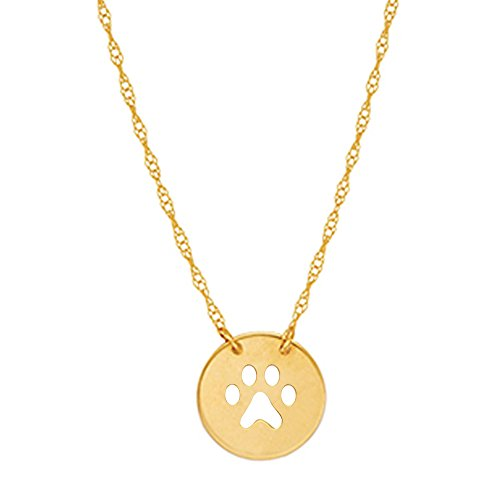14k Yellow Gold Mini Puppy Dog Paw Print Pendant Adjustable Chain Necklace 16-18 Inches (Dog Gold Yellow 14k)
