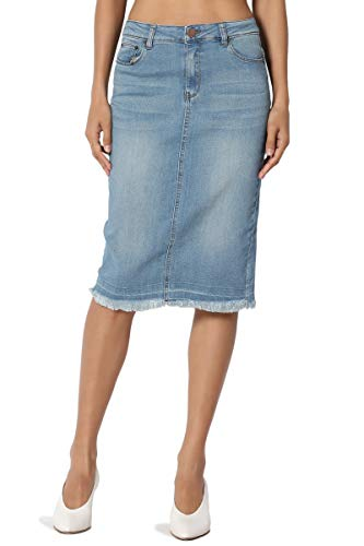 TheMogan Women's Butt Lift Washed Blue Jean Pencil Midi Soft Denim Skirt Light S