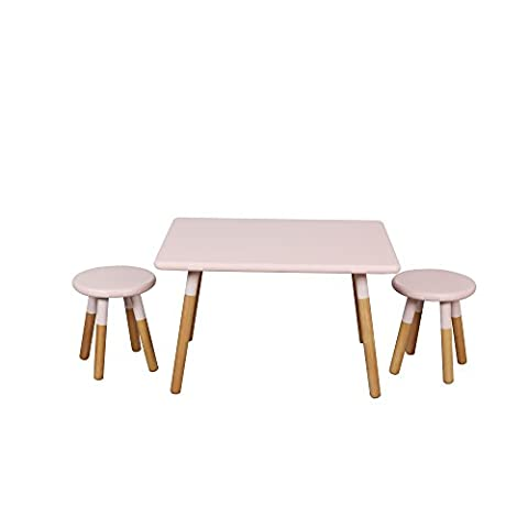 Michael Anthony Kids Dipped Table and Stool Set- Pink - Juvenile Kids Table
