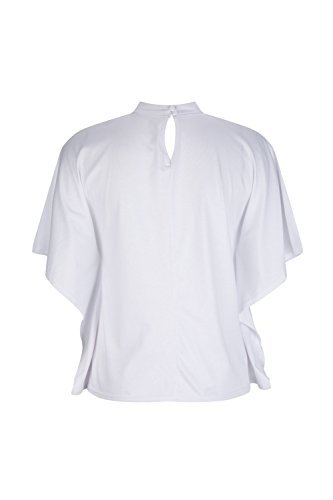 Elegante Gargantilla De Cuello En V Manga Corta Mujer Verano T Shirt Blusas Tops White