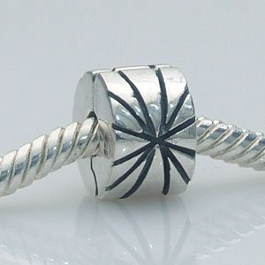 Finished Pandora Bracelet (Soulbeads Authentic Sterling Silver Charm Clip Lock Stopper Bead Fit Bracelets)