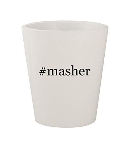 Potato Masher Grenade - #masher - Ceramic White Hashtag 1.5oz Shot Glass