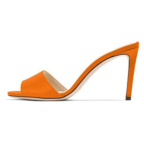 Evening Shoe Spike Heeled - FSJ Women Casual Peep Toe Mule Sandals Stiletto High Heels Party Evening Shoes Size 10 Orange