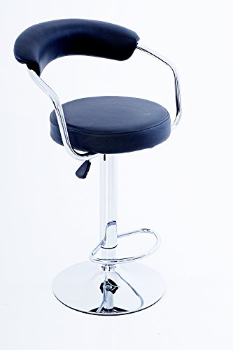 GIO Round Soft Back Barstool in BLACK Vegan Leather - Swivel bar, gas height adjustment, shiny chrome, sturdy frame price