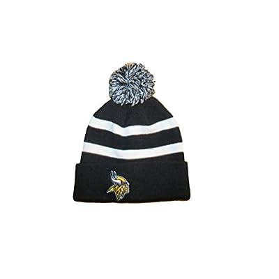 Minnesota Vikings NFL Football Knit Stocking Hat with Pom Pom Black & White OSFA