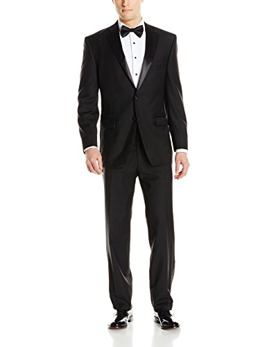 Calvin Klein Men's Modern Fit 100% Wool Tuxedo, Black, 44 Regular by Calvin Klein
