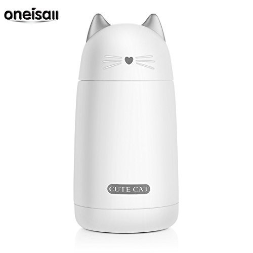 ONEISALL SB60239 300ML Kids Thermos Bottle Cute Cat Thermos Mug Stainless Steel Cat Water Bottle with Portable Handle (White)