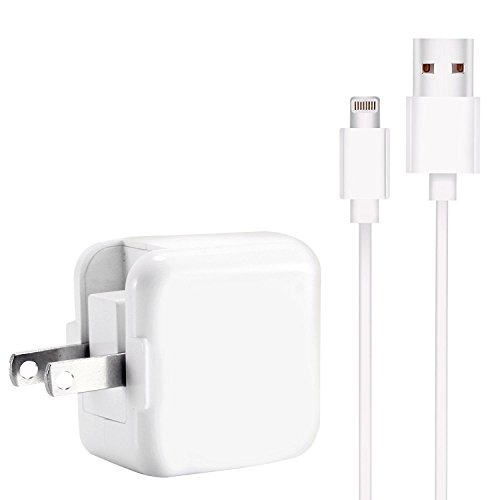 Zebra Tech iPad Charger Lightning Cable (Travel USB Wall Charger/Plug/Power Adapter) for iPhone 5/5C/5S/6/6/7/7 Plus IPad 2, IPad Air, All Devices Bundle Package
