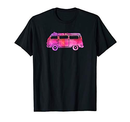 Cute Camper Van Pink Hippie Watercolor Vintage Ride T Shirts