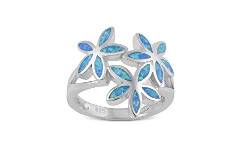 Sterling Silver Created Blue Opal Daisy Flower Ring - Size 7 (Created Silver Ring Flower Opal)