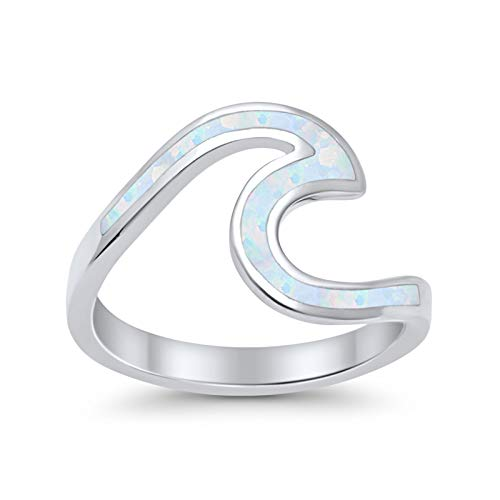 Blue Apple Co. Wave Swirl Band Ring Irregular Shape Lab Created White Opal 925 Sterling Silver, ()
