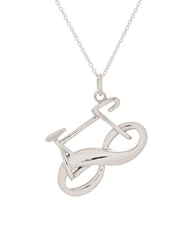".925 Sterling Silver Eternity Bike Pendant w/18"" Cable Chain Necklace"